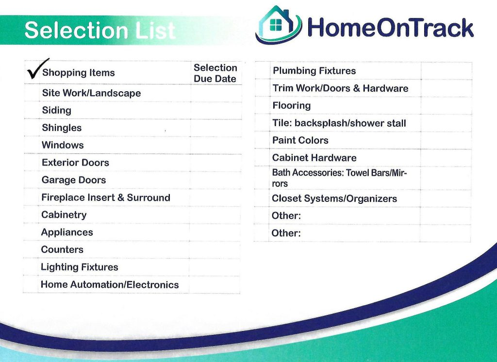 Hot allowance sheet free printable homeontrack for New home selections checklist